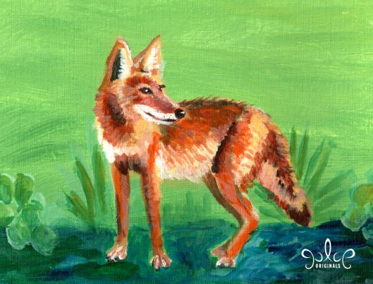 Tucson Coyote Acrylic Painting by Julie Orginals