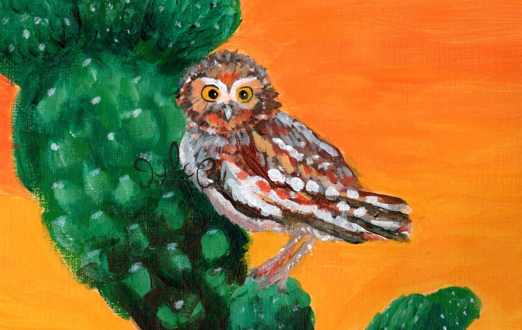 Elf Owl in Tucson Arizona Painting by Julie Originals
