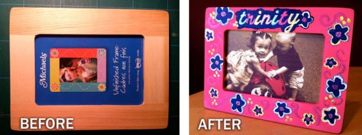 Personalized Painted Frame Before and After