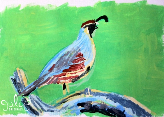 Gambel's Quail Step 2- Painting by Julie Originals