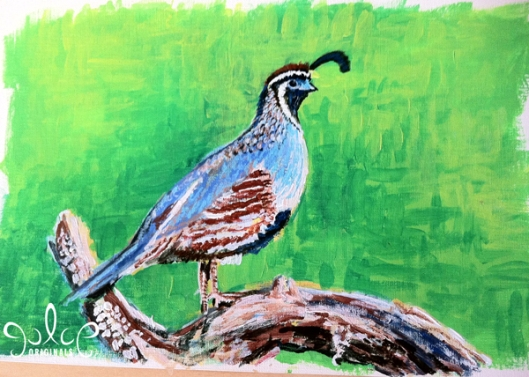 Gambel's Quail Step 3- Painting by Julie Originals