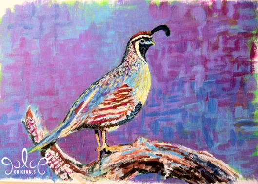 Gambel's Quail Step 4- Painting by Julie Originals