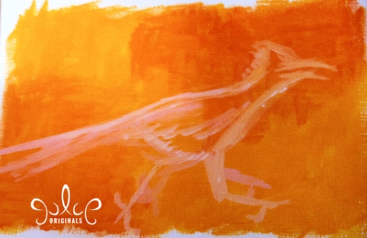 Roadrunner Painting by Julie Originals - Step1