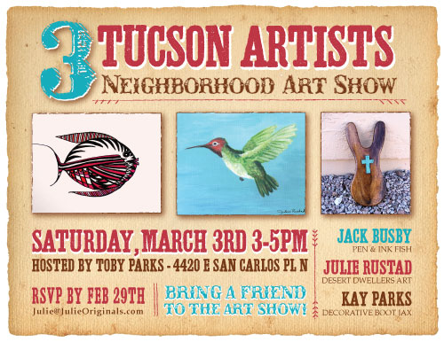 3 Artist Show in Tucson featuring Julie Rustad, Jack Busy and Kay Parks