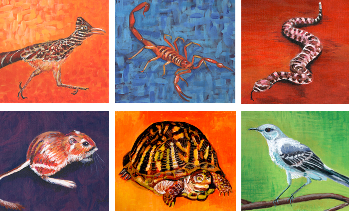"6 Southwest Animals ""Desert Dwellers"" Paintings by Julie Rustad"