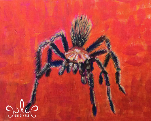 Tarantula Acrylic Painting by Julie Rustad - Step 7