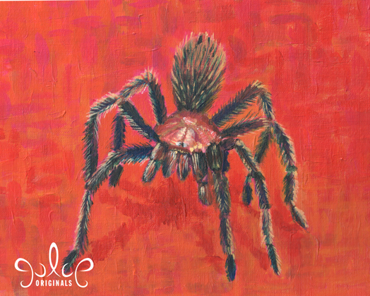 Tarantula Acrylic Painting by Julie Rustad - Step 8