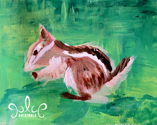 Uinta Chipmunk Step 3 Acrylic Painting by Julie Rustad
