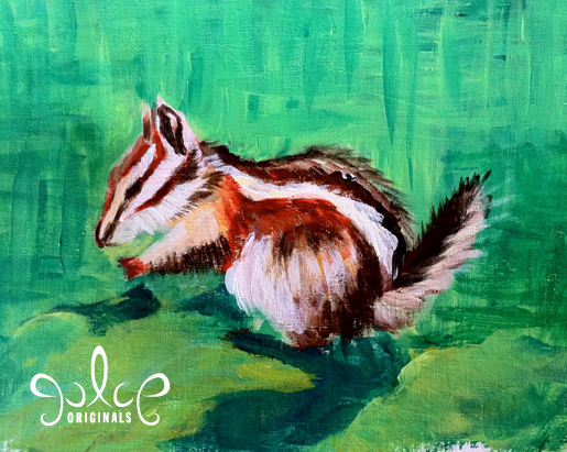 Uinta Chipmunk Step 5 Acrylic Painting by Julie Rustad