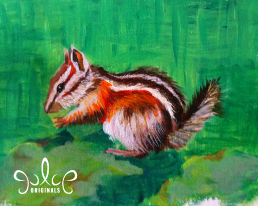 Uinta Chipmunk Step 6 Acrylic Painting by Julie Rustad