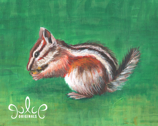 Uinta Chipmunk Step 7 Acrylic Painting by Julie Rustad