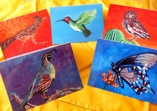 Fab Feathered Five Notecards by Julie Rustad
