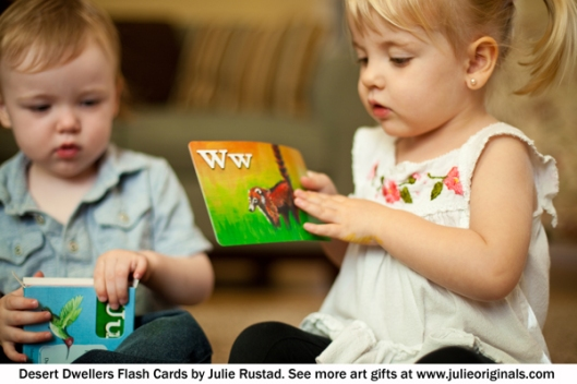 Toddlers playing with Desert Dwellers FLash Cards