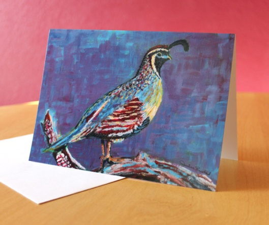Quail Greeting Card by Julie Originals