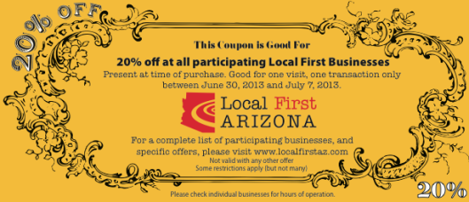 Use this coupon for 20% off over 300 local businesses in Arizona