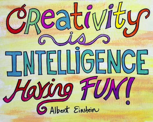 painting of ALbert Einstein quote by artist Julie Rustad