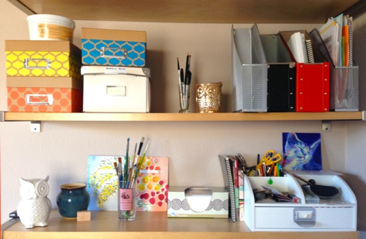 My acrylics, journals and tools are right above my desk - but in a neater way than before!